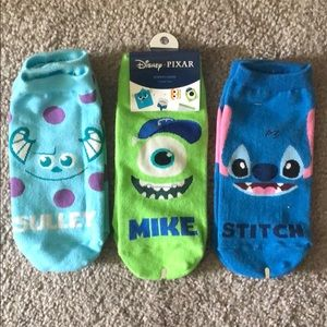 Disney Pixar Socks set of 3 / Stitch Monsters Inc
